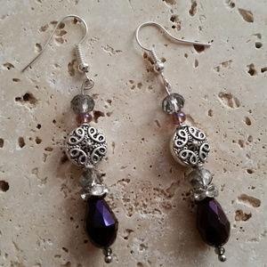 Purple & Silver Tear Drop Earrings NWOT
